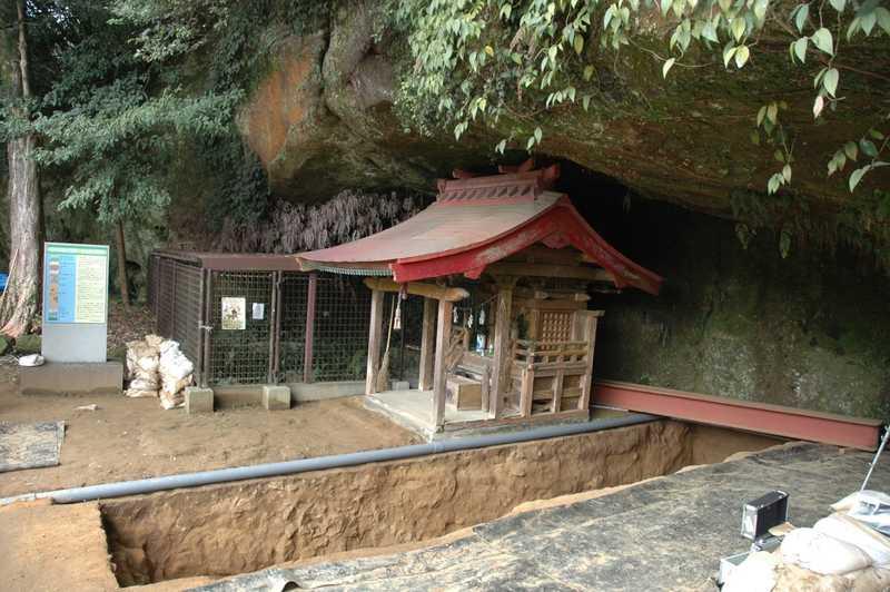 写真:福井洞窟の発掘地点
